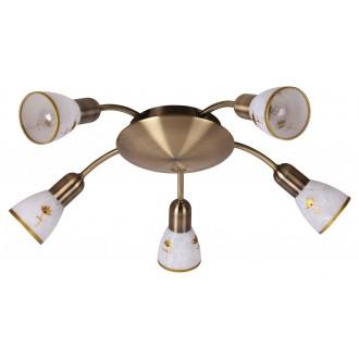 RABALUX 6360 | Art-Flower Rabalux spot lámpa 5x E14 bronz, fehér, arany
