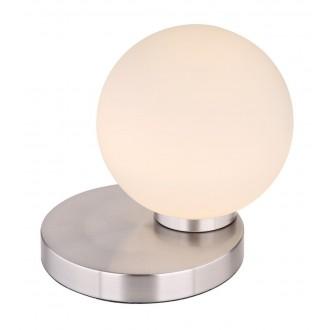 RABALUX 6383 | Trudy Rabalux asztali lámpa 17cm három fokozatú kapcsoló szabályozható fényerő 1x LED 400lm 3000K szatén króm, fehér