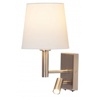 RABALUX 6539 | Harvey Rabalux falikar lámpa két kapcsoló elforgatható alkatrészek 1x E27 + 1x LED 180lm szatén króm, fehér
