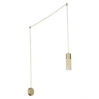 RABALUX 6560 | Floresta Rabalux függeszték lámpa vezeték kapcsoló vezetékkel, villásdugóval elátott, rövidíthető vezeték 1x LED 248lm 4000K arany, átlátszó