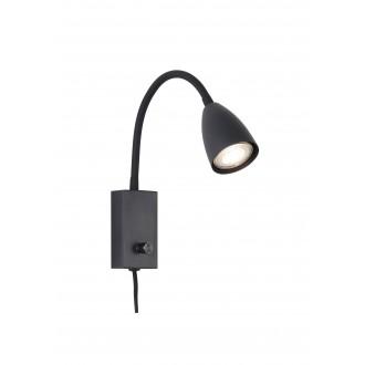 RABALUX 6719 | Mika-RA Rabalux spot lámpa kapcsoló elforgatható alkatrészek, vezetékkel, villásdugóval elátott 1x GU10 fekete