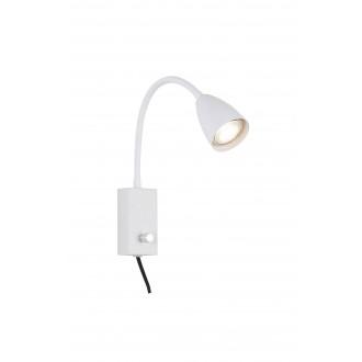 RABALUX 6720 | Mika-RA Rabalux spot lámpa kapcsoló elforgatható alkatrészek, vezetékkel, villásdugóval elátott 1x GU10 fehér
