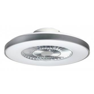 RABALUX 6858 | Dalfon Rabalux ventilátoros lámpa mennyezeti kerek távirányító szabályozható fényerő, állítható színhőmérséklet, Bluetooth, éjjelifény 1x LED 1700lm 3000 <-> 6500K fehér, ezüst, áttetsző