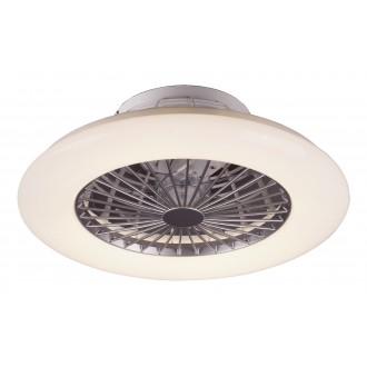 RABALUX 6859 | Dalfon Rabalux ventilátoros lámpa mennyezeti kerek távirányító szabályozható fényerő, állítható színhőmérséklet 1x LED 1700lm 3000 <-> 6500K fehér, ezüst, kristály hatás
