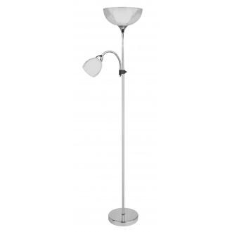 RABALUX 6878 | Dave Rabalux álló lámpa 178cm vezeték kapcsoló flexibilis 1x E27 + 1x E14 króm, fehér, átlátszó
