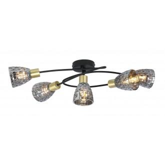RABALUX 6930 | Stacy-RA Rabalux mennyezeti lámpa 5x E14 fekete, antikolt bronz, füst