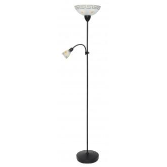 RABALUX 6968 | Etrusco Rabalux álló lámpa 183cm vezeték kapcsoló flexibilis 1x E27 + 1x E14 antikolt barna, fehér mintás