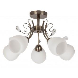 RABALUX 7045 | Susan Rabalux mennyezeti lámpa 5x E27 bronz, fehér, átlátszó