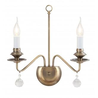 RABALUX 7057 | Beatrice Rabalux falikar lámpa 2x E14 antikolt bronz, fehér, átlátszó