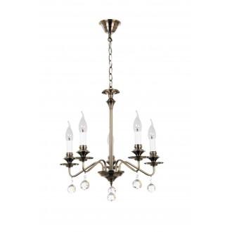 RABALUX 7058 | Beatrice Rabalux csillár lámpa 5x E14 antikolt bronz, fehér, átlátszó