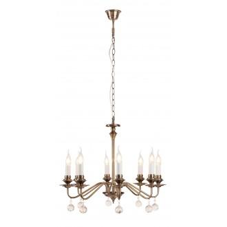 RABALUX 7059 | Beatrice Rabalux csillár lámpa 8x E14 antikolt bronz, fehér, átlátszó