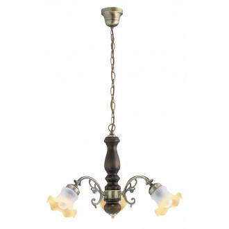 RABALUX 7073 | Rustic Rabalux csillár lámpa 3x E14 bronz, dió, pezsgő