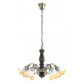 RABALUX 7075 | Rustic Rabalux csillár lámpa 5x E14 bronz, dió, pezsgő
