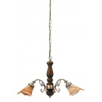 RABALUX 7093 | Rustic3 Rabalux csillár lámpa 3x E14 bronz, dió, barna alabástrom