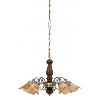 RABALUX 7095 | Rustic3 Rabalux csillár lámpa 5x E14 bronz, dió, barna alabástrom