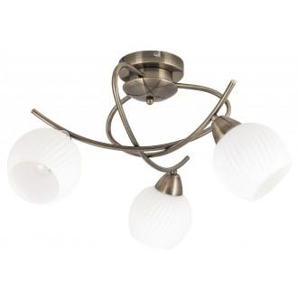 RABALUX 7119 | Evangeline Rabalux mennyezeti lámpa 3x E14 antikolt bronz, fehér