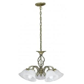 RABALUX 7135 | Beckworth Rabalux csillár lámpa 5x E14 bronz, fehér alabástrom