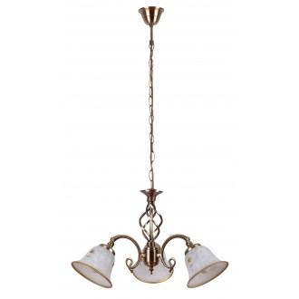 RABALUX 7173 | Art-Flower Rabalux csillár lámpa 3x E14 fehér alabástrom, bronz