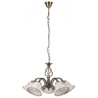 RABALUX 7175 | Art-Flower Rabalux csillár lámpa 5x E14 fehér alabástrom, bronz