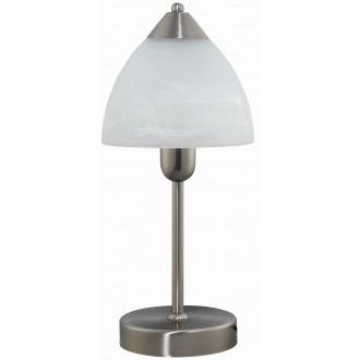 RABALUX 7202 | Tristan Rabalux asztali lámpa 37cm vezeték kapcsoló 1x E14 matt króm, fehér alabástrom
