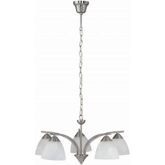 RABALUX 7205 | Tristan Rabalux csillár lámpa 5x E14 matt króm, fehér alabástrom