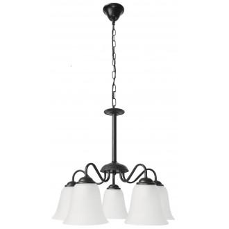 RABALUX 7258 | FabiolaR Rabalux csillár lámpa 5x E27 matt fekete, opál
