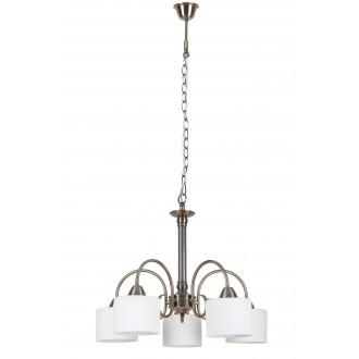 RABALUX 7276 | EdithR Rabalux csillár lámpa 5x E27 antikolt bronz, fehér