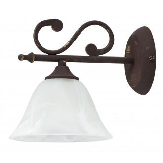 RABALUX 7735 | Margaret Rabalux falikar lámpa 1x E14 antikolt barna, fehér alabástrom