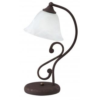RABALUX 7736 | Margaret Rabalux asztali lámpa 38cm vezeték kapcsoló 1x E14 antikolt barna, fehér alabástrom
