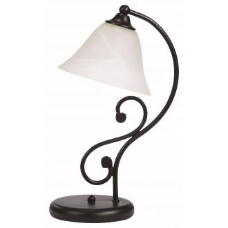 RABALUX 7772 | Dorothea Rabalux asztali lámpa 38cm vezeték kapcsoló 1x E14 matt fekete, fehér alabástrom