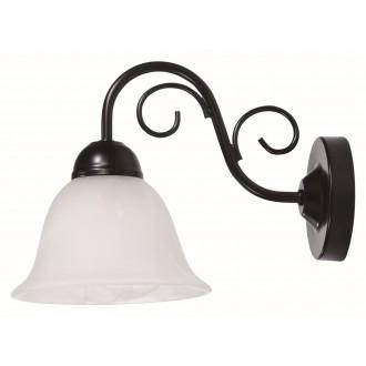 RABALUX 7811 | Athen Rabalux falikar lámpa 1x E14 matt fekete, fehér alabástrom