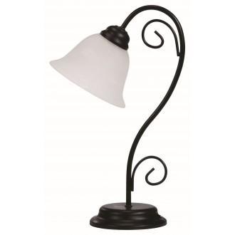 RABALUX 7812 | Athen Rabalux asztali lámpa 41cm vezeték kapcsoló 1x E14 matt fekete, fehér alabástrom