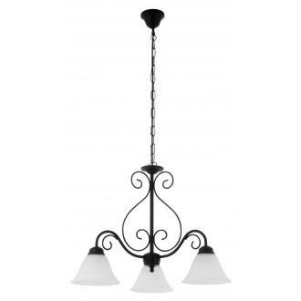 RABALUX 7813 | Athen Rabalux csillár lámpa 3x E14 matt fekete, fehér alabástrom