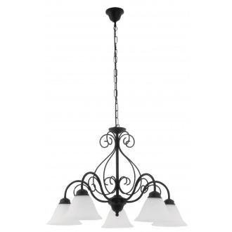 RABALUX 7815 | Athen Rabalux csillár lámpa 5x E14 matt fekete, fehér alabástrom