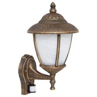 RABALUX 7836 | Madrid Rabalux falikar lámpa mozgásérzékelő 1x E27 IP43 antikolt arany, fehér alabástrom