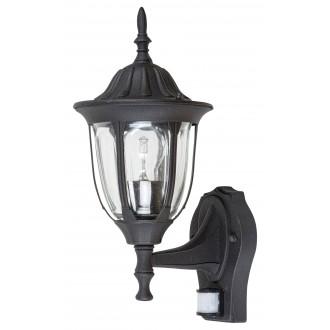 RABALUX 7837 | Milano Rabalux falikar lámpa mozgásérzékelő 1x E27 IP43 matt fekete, átlátszó