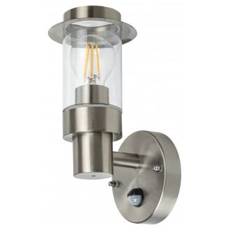 RABALUX 7839 | Warsaw Rabalux falikar lámpa mozgásérzékelő 1x E27 IP44 szatén króm, átlátszó