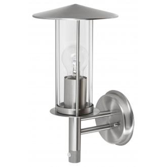 RABALUX 7847 | Nashville-RA Rabalux falikar lámpa mozgásérzékelő 1x E27 IP44 nemesacél, rozsdamentes acél, átlátszó