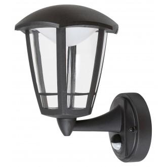 RABALUX 7849 | Sorrento Rabalux falikar lámpa mozgásérzékelő 1x LED 500lm 3000K IP44 UV matt fekete, átlátszó