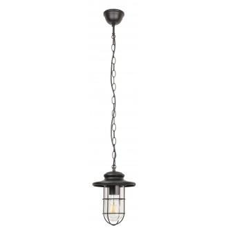 RABALUX 8070 | Pavia Rabalux függeszték lámpa 1x E27 IP44 matt fekete, átlátszó