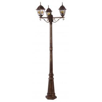 RABALUX 8186 | Monaco Rabalux álló lámpa 212cm 3x E27 IP43 antikolt arany, piros, áttetsző