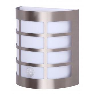 RABALUX 8200 | SevillaR Rabalux fali lámpa mozgásérzékelő 1x E27 IP44 UV nemesacél, rozsdamentes acél, fehér