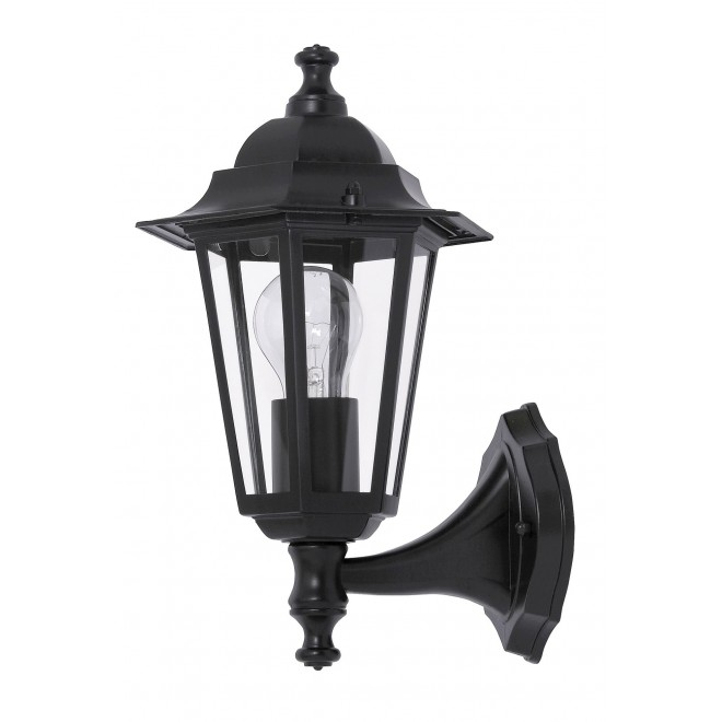 RABALUX 8204 | Velence1 Rabalux falikar lámpa 1x E27 IP43 fekete, átlátszó