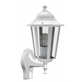 RABALUX 8216 | Velence1 Rabalux falikar lámpa mozgásérzékelő 1x E27 IP43 fehér, átlátszó
