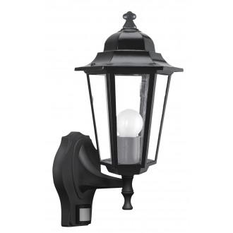 RABALUX 8217 | Velence1 Rabalux falikar lámpa mozgásérzékelő 1x E27 IP43 fekete, átlátszó