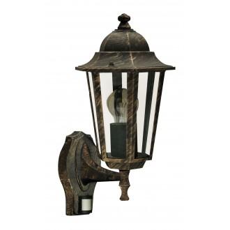 RABALUX 8218 | Velence Rabalux falikar lámpa mozgásérzékelő 1x E27 IP43 antikolt arany, átlátszó