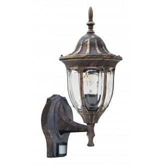 RABALUX 8370 | Milano Rabalux falikar lámpa mozgásérzékelő 1x E27 IP43 antikolt arany, átlátszó