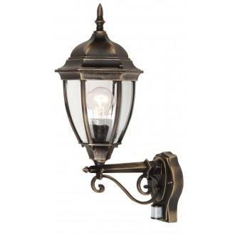 RABALUX 8380 | TorontoR Rabalux falikar lámpa mozgásérzékelő 1x E27 IP44 antikolt arany, átlátszó