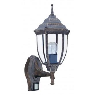 RABALUX 8458 | Nizza Rabalux falikar lámpa mozgásérzékelő 1x E27 IP43 antikolt arany, átlátszó