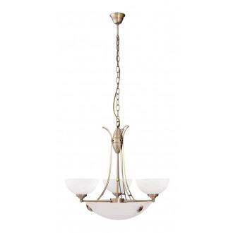RABALUX 8523 | Pearl-classic Rabalux csillár lámpa 3x E14 + 3x E27 bronz, fehér alabástrom